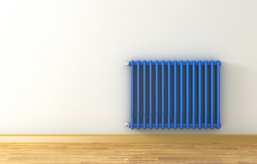 sunny room with a blue radiator on a grey wall (3d render)